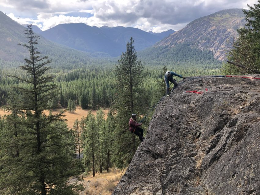 outdoor education students rappel near Mazama Washington
